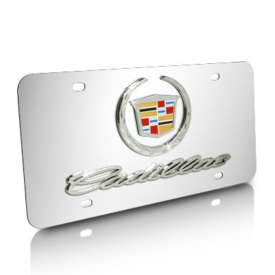 (Cadillac 3d Logo and Name on Chrome Steel License Plate)
