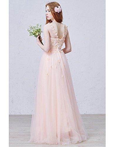 Lactraum Brautjungfernkleid Rosa 3D Abendkleider Perspektive LF4235 Schleife Blumen r5Tqnxrw