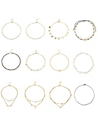Finrezio 10 PCS Choker Necklace for Women Girls Dainty Layered Gold Chain Lucky Star Heart Pearl Bead Natural Shell Necklaces Set