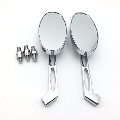 HTT Group Motorcycle Chrome Alloy Custom Mirror for Harley softail FatBoy OVAL Shape Softail Fat Boy Road King Dyna Wide Glide Springer Sportster XL Ultra Glide Electraglide Low Rider V-Rod Superglide