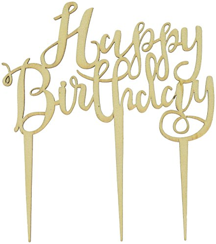 Ginger Ray BH-762 Happy Birthday Boho Wooden Cake Topper Decoration, Brown by Ginger Ray (Image #4)