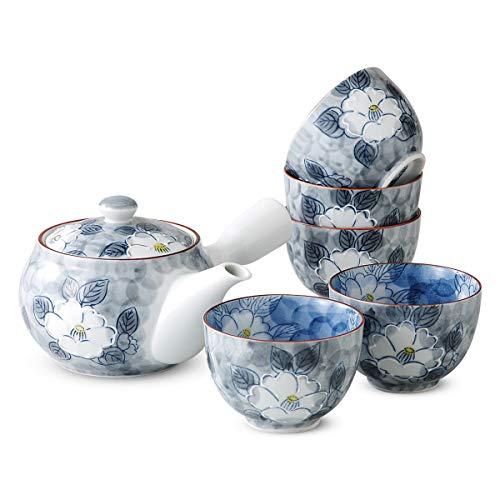 (Ranchant 1set Tea set (Tea pot 1pc 375cc, cup 5pcs 190cc) Gray Ittin Sazanka Arita ware Made in Japan )