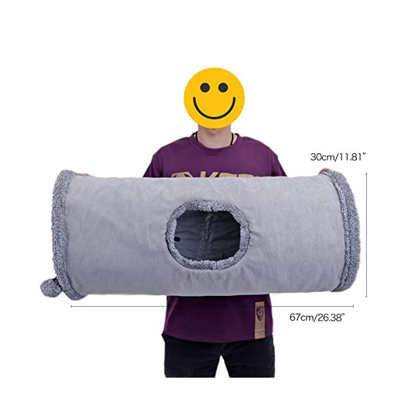 Speedy Pet Collapsible Cat Tunnel, Cat Toys Play Tunnel Durable Suede Hideaway Pet Crinkle Tunnel with Ball,12 inch Diameter 4
