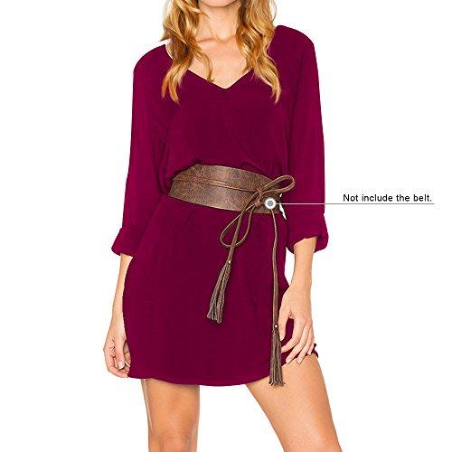 DYLH la de T Vino Camiseta A Rodilla Manga Larga Vestido Rojo Cuello por Line Elegante Casual Vestido Shirt V Z7qArpwvZH