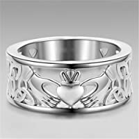 khamchanot Fashion 925 Silver Jewelry Women Men Claddagh Forever Love Band Ring Size 6-10 (9)