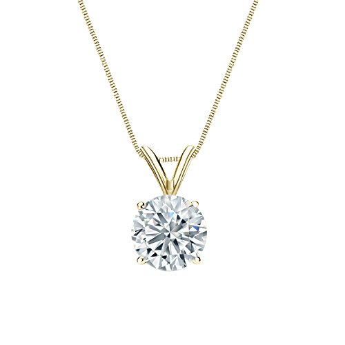 14k Yellow Gold 4-Prong Basket Round-Cut Diamond Solitaire Pendant (5/8 cttw, H-I Color, I2-I3 (Four Prong 14ky Gold Solitaire)