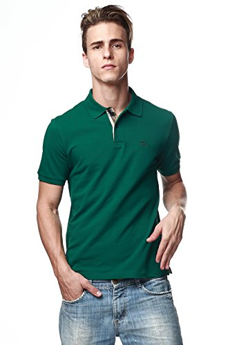 Burberry Brit Men's Check Placket Forest Green Pique Polo Shirt - Burberry Green