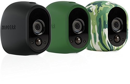 Arlo Smart Security - 3 Silicone Skins for 100% Wire-Free Cameras (Black/Green/Camo) Color: Black/Green, Model: VMA1200-10000S, Gadget & Electronics Store by Electronics World