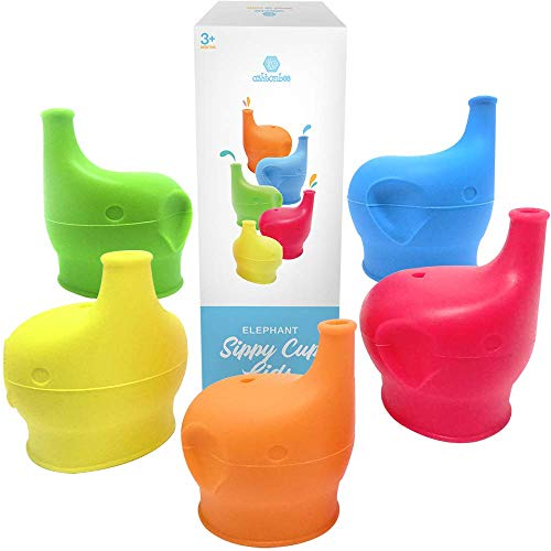 (Silicone Sippy Cup Lids (5 Pack) - Elephant Silicone Spout Makes Cup into Spill-Proof Sippy Cup for Babies and Toddlers )