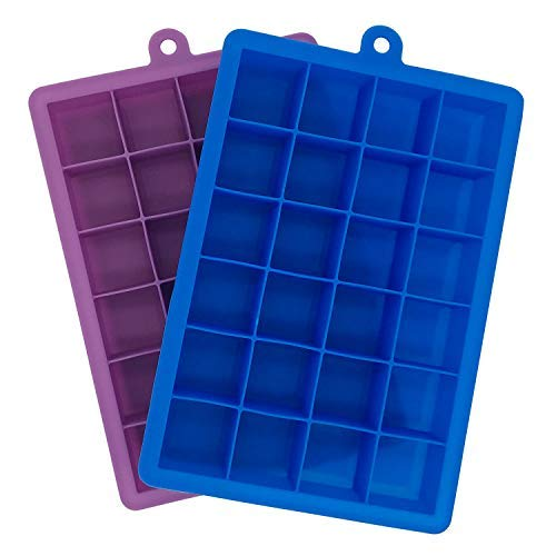 Docik Silicone Ice Cube Trays, 24 Cubes Per Ice Tray, Flexible 24 Cavity Mold for Ice, Candy, Chocolate and More, Pack of 2