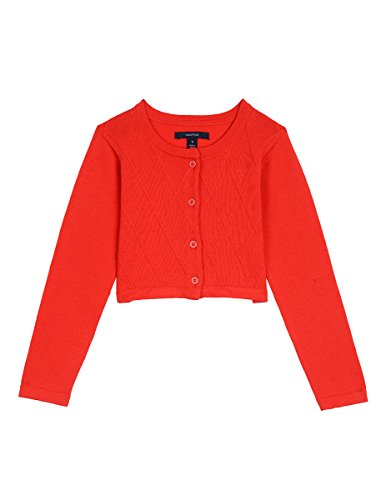 Nautica Toddler Girls' Cropped Cardigan with Lattice Stitch, Lattice Bright Red, 4T