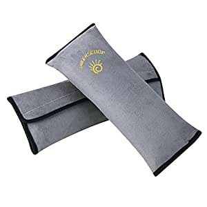 INKERSCOOP Kids Seatbelt Pillow 2 Packs, Universal Car Seat Belt Pillow Seatbelt Protector Cushion Seat Belt Covers for Children and Adult 2 Packs (2 Pack, Grey)