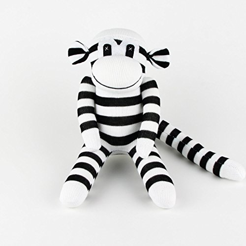 Handmade Black Striped White Traditional Sock Monkey Doll