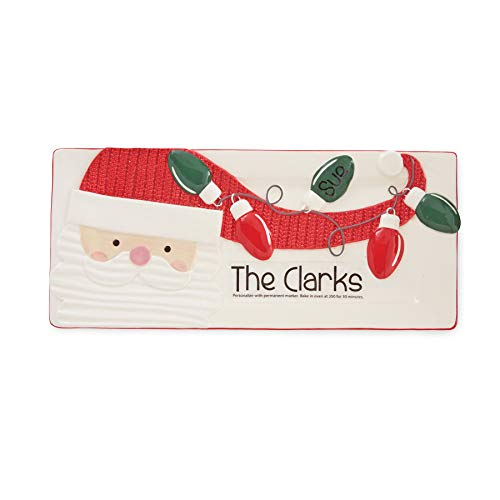 Mud Pie 4075160S Personalizable Santa Serving Tray, One Size, White, Red, Green