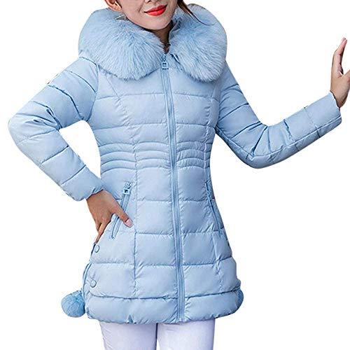 QYM Women's Jackets, Women Hooded Outwear Warm Coat Long Thick Collar Cotton Parka Slim Jacket (Color : Blue, Size : 3XL)