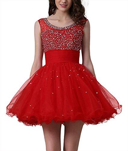 Les Perles Des Femmes Dreamdress Paillettes Courtes Robes Mini Cocktail Robes Rouges