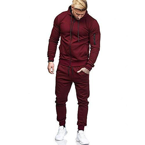 (Limsea Men's Autumn Patchwork Zipper Sweatshirt Top Pants Sets Sports Suit)