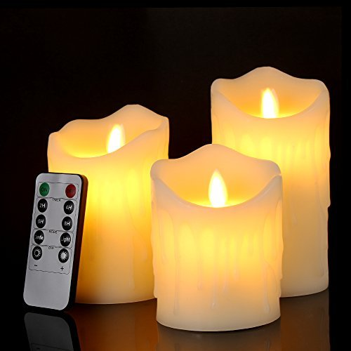 Pack of 3 (4''/ 5''/ 6'') Ivory Pillar Flameless LED Candles, Dripping Real Wax Flickering Realistic Moving Flame Candle Motion with Timer Function Remote Control by SuperSWK (Image #1)