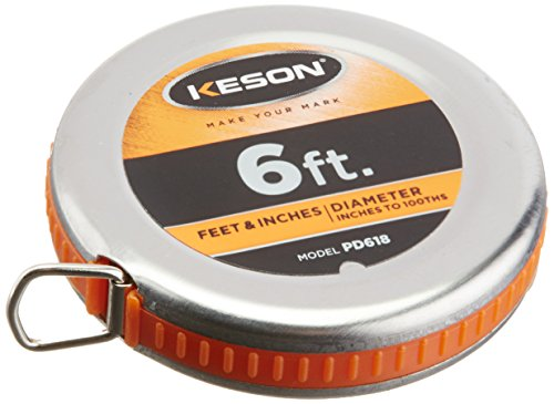 Keson PD618 Diameter Measuring Tape with Steel Blade and Case, 1/4-Inch by 6-Foot