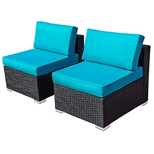 Delman Outdoor Loveseat, All Weather Dark Wicker Sectional Sofa Chair (2 Armless Sofa Chairs) with Blue Removable Cushions, Black Steel Frame