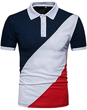 Short Sleeves Polo Shirts for Men Contrast Color Turn-Down Sport Golf Shirts Tee