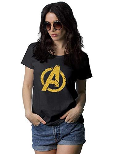 Womens Black Superhero Shirt | Distres A Logo, L -