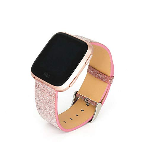 Lyperkin Compatible with Fitbit Versa Bands, Fashion Bling Glitter Leather Watch Strap Quick Release Replacement Wristband Accessories Compatible with Fitbit Versa Smart Watch for Women
