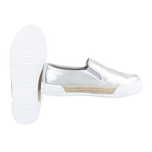 Ital Mujer Zapatillas de Design 2 Silber 503 casa vwSU6qv