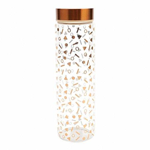 glass water bottle wood lid - 5