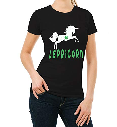 (Cute Lepricorn St Patrick Day Shirt for Womens - Irish Leaf Clover Unicorn Graphic Tees)