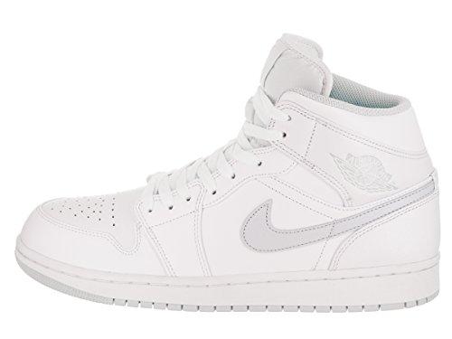 Jordan Nike Heren Lucht 1 Mid Basketbalschoen Wit / Zuiver Platina Wit