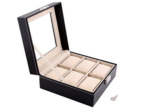 TMS Black Leather 6 Grid Jewelry Watch Glass Display Box Storage Organizer Show Case
