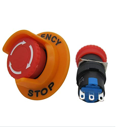 TWTADE / 1Pcs AC110V-250V DC12V-250V 0.1-5A SPDT 1NO 1NC 3Pin 16mm Self-Locking Mushroom Emergency Stop Push Button Pushbutton Switch Add Protection Cover (Quality Assurance for 3 Years) LA16-11ZS