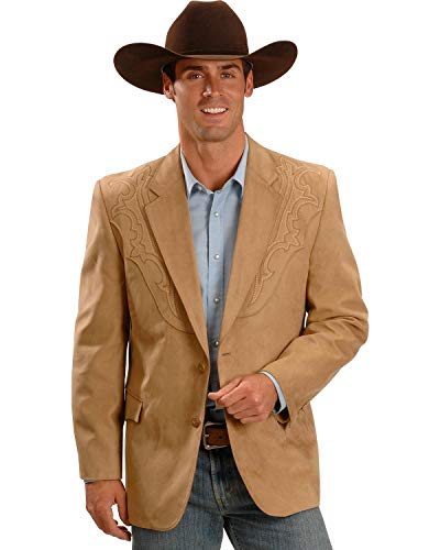 (Circle S Men's Embroidered Micro-Suede Sport Coat Camel 54)