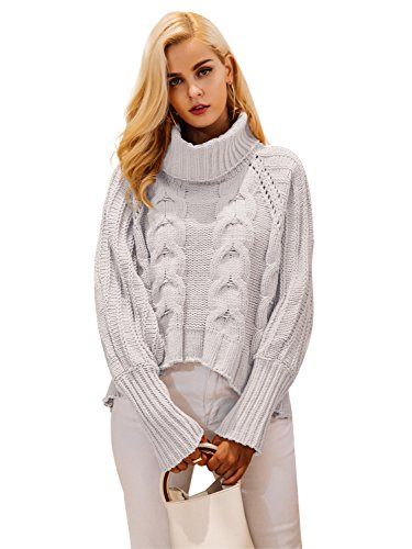 Simplee Women's Casual High Neck Loose Ribbed Pullover Sweater Knit Jumper,Beige,8, L