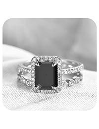 Gold & Diamonds Jewellery 6x8mm Emerald Cut Created Gemstone .925 Sterling Silver Art Deco Wedding Halo Bridal Ring Set for Women's