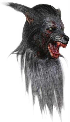 Men's Wolf Werewolf Mask Halloween Costume with Fur and (Latex Wolf Mask)