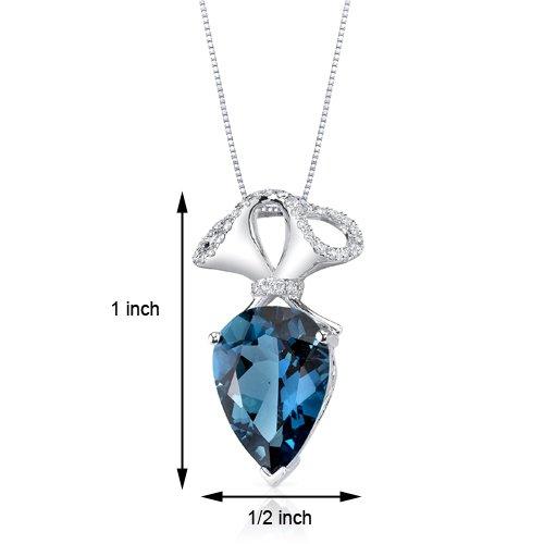 Revoni 14ct or blanc 585/1000 en forme de poire 5.88 carats Londres topaze bleue Pendentif diamant