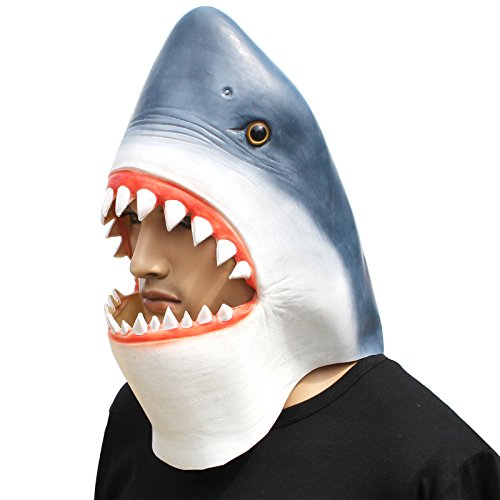 CreepyParty Novelty Halloween Costume Party Latex Animal Head Mask Shark ()