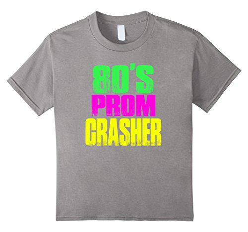Kids 80's Prom Party Crasher Neon 80's Prom Shirt Theme Party 10 Slate (Neon Prom Theme)