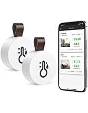 ORIA 2pcs Trådlös Termometer Hygrometer, Mini Bluetooth 5.0 Fuktighets Sensor med Data Export & Varningar för iOS Android, Smarta Realtids Rekord för Hus, Vincigarr, Vardagsrum, Babyrum, etc