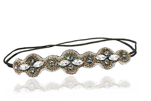 Urban Gypsy Grey Rhinestone Reversable Headband Elastic Stretch Headwrap with Style Guide 20 Differnt Ways to Wear