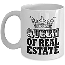 Queen Of Real Estate Crown Coffee & Tea Gift Mug and Cup Gifts for Women Real Estate Agent or Transactions & Sales Personnel