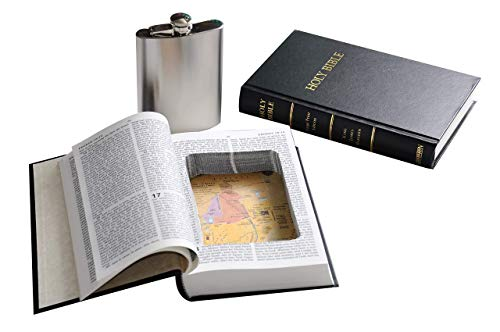 Bible Book Safe w/ 8oz Hidden Flask - Funny Gift - Genuine Bible with Real Pages - Secret Hollow Diversion Storage Stash - Preacher Atheist Priest Pastor]()