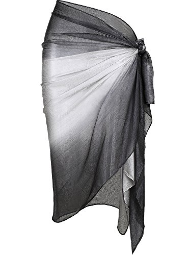 Hestya Women Pareo Swimsuit Beach Swimwear Gradient Color Bikini Sarong (Grey) -
