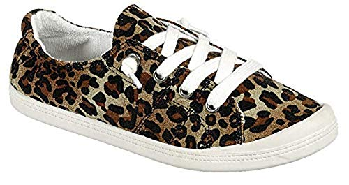 Forever Link Womens COMFORT-09-DKGRY Fabric Closed Toe, Leopard, Size 9.0