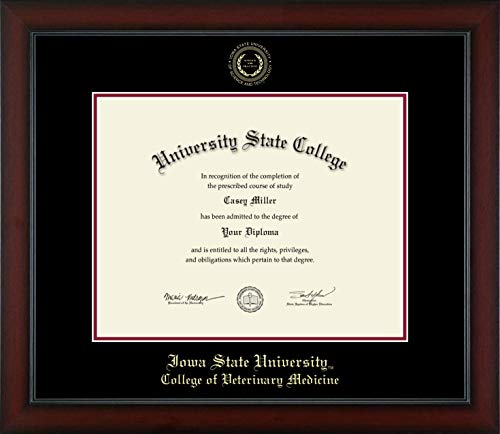 Iowa State University College of Veterinary Medicine - Officially Licensed - PhD- Gold Embossed Diploma Frame - Diploma Size 14