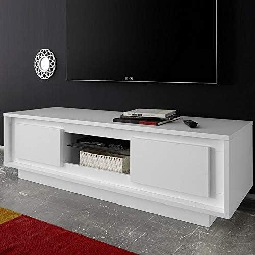 Mueble para TV de diseño blanco lacado mate Erine 5: Amazon.es: Hogar