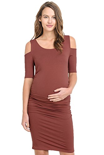 Hello Miz Women's Cold Shoulder Knee Length Fitted Maternity Dress(Medium, Red Brown)]()
