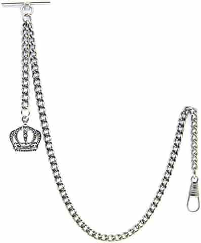 Albert Chain Pocket Watch Curb Link Chain Antique Silver Plating Crown Fob T Bar AC04